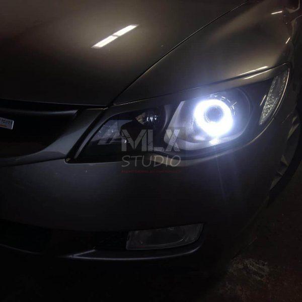 Honda Civic 4D (линзование головного света, ангельские глазки+ поворотники)