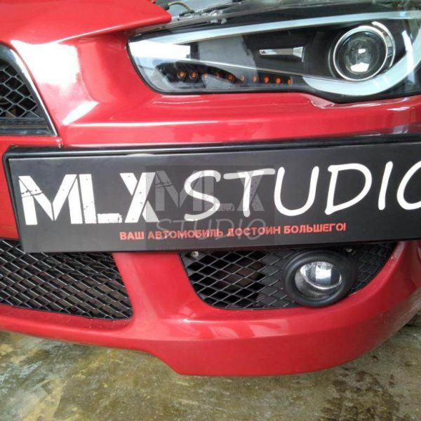 Mitsubishi Lancer X. Фонари и Фары Audi Style (red)