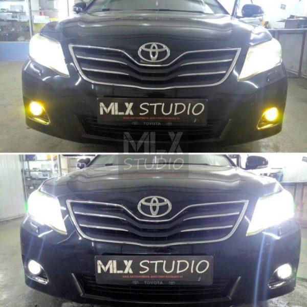 Toyota Camry V40 (2009 г.в.). Светодиодные линзы и шумоизоляция